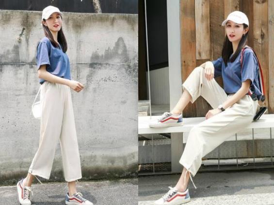 女生米色裤子怎么搭配好看,女星米色裤子搭配图片
