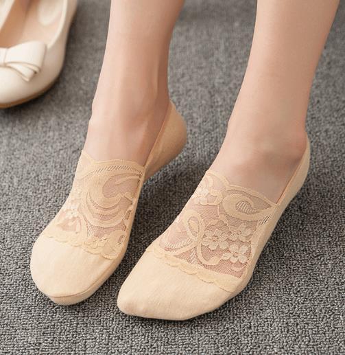 这5款蕾丝隐形船袜配高跟鞋穿 太美了(图)