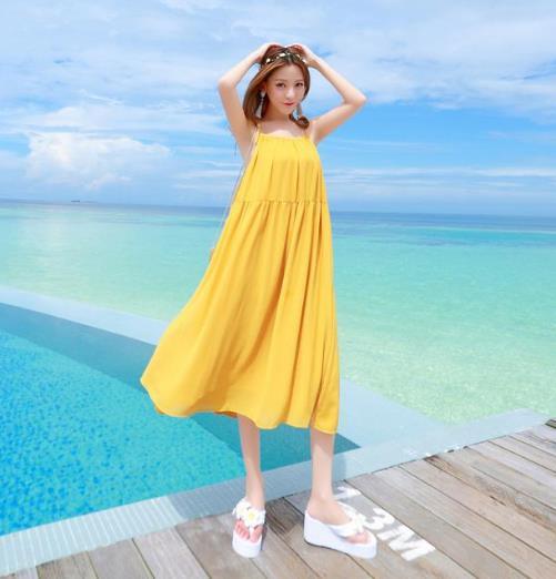 超美的新款性感露背吊带雪纺沙滩裙分享(图)