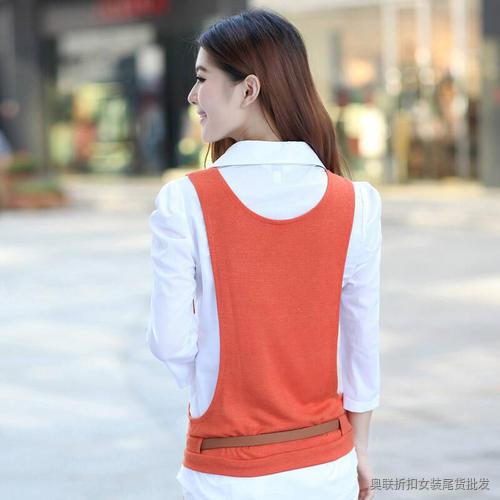 OL衬衫假两件套针织衫 (2)