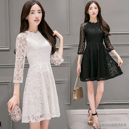 中长款七分袖连衣裙 (1)