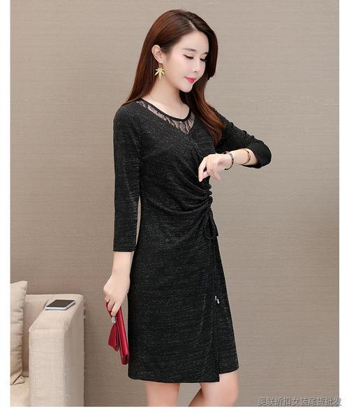 轻熟风大领纯色连衣裙 (4)