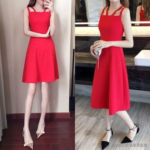 红色圆点小吊带裙