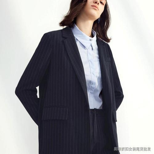 棉麻竖条纹西装外套