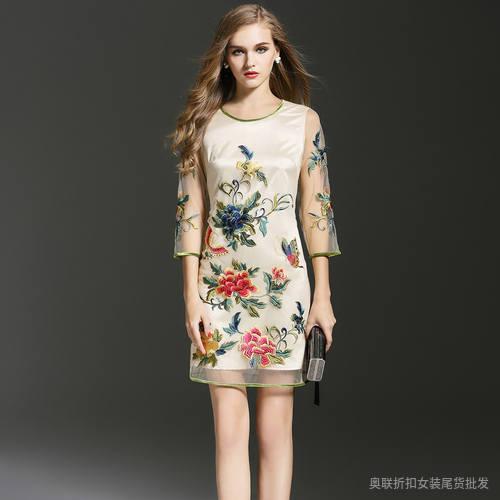 旗袍碎花纯棉刺绣改良旗袍裙子小个子