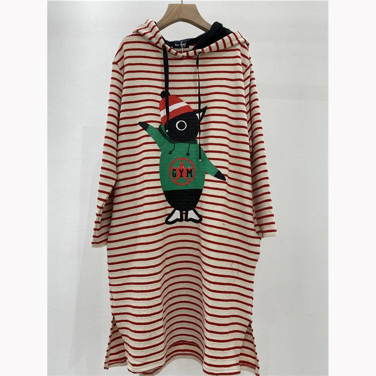 时尚女装货源 小鱼仔品牌条纹带帽印花连衣裙