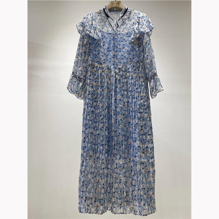 315货源批发网 小鱼仔品牌女式长款碎花连衣裙