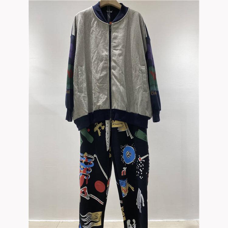 网店货源供应商 小鱼仔品牌长裤外套两件套